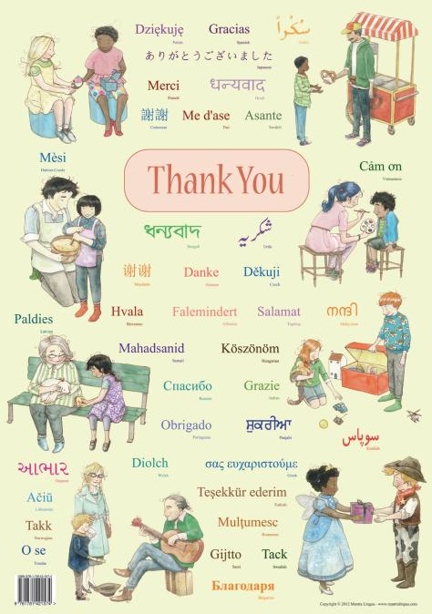 "Multicultural classroom poster that says ""Thank You"""
