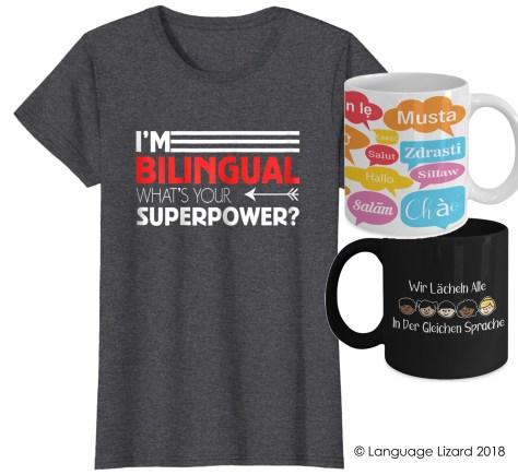 bilingual shirts and mugs