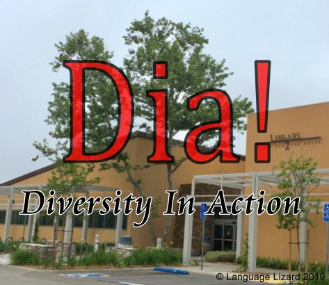 "Library building with ""Dia! Diversity In Action"" text"