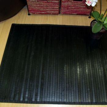Alfombra de bambú pasillera negra