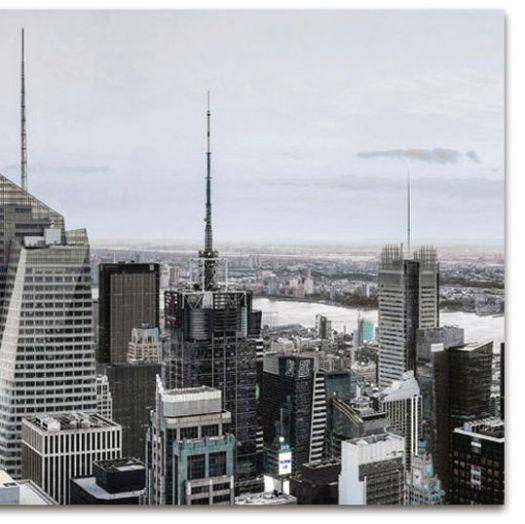 Detalle cuadro cristal paisaje Nueva York