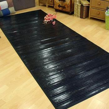 Alfombra de bambú negra 100x250