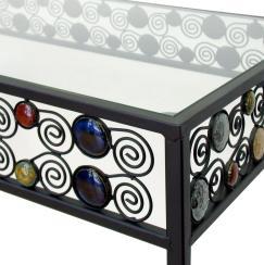 Mesa de metal y cristal