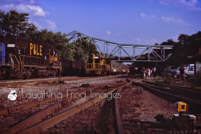 The last run of the Pittsburgh & Lake Erie Railroad's commuter train from Pittsburgh arrives at the end of its' run in College, PA. July 12, 1985
