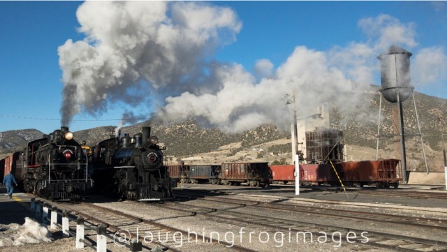Nevada Northern 40 and 93 ready to head east. East Ely, NV.