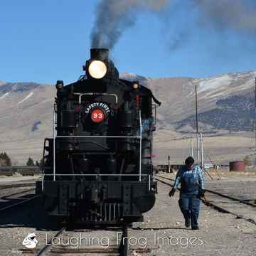 Nevada Northern Railway Alco 2-8-0 93 on a photo freight at East Ely, Nevada.