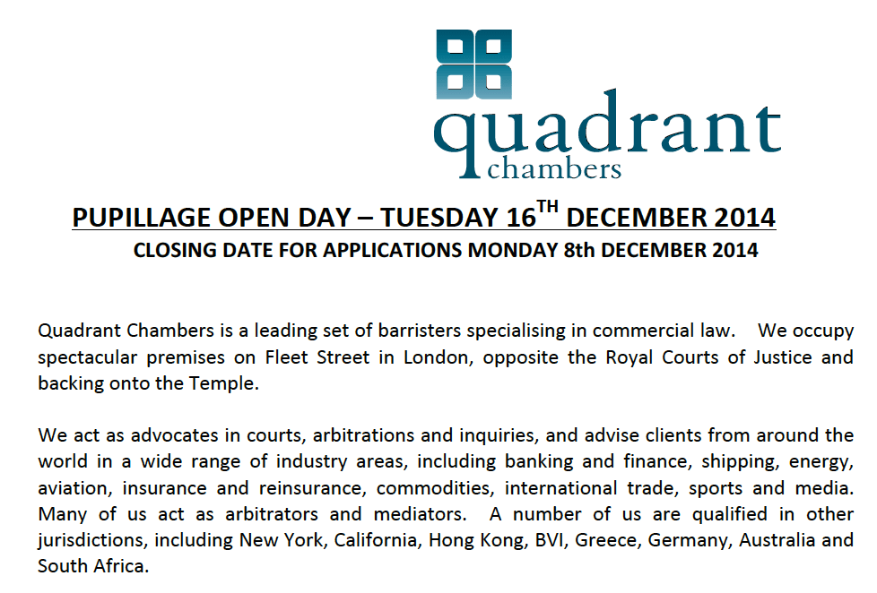 Quadrant Chambers Pupillage Open Day  Future Lawyer