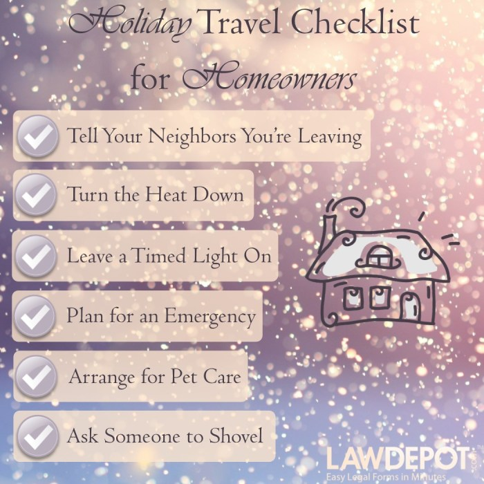 Holiday Travel Checklist for Homeowners