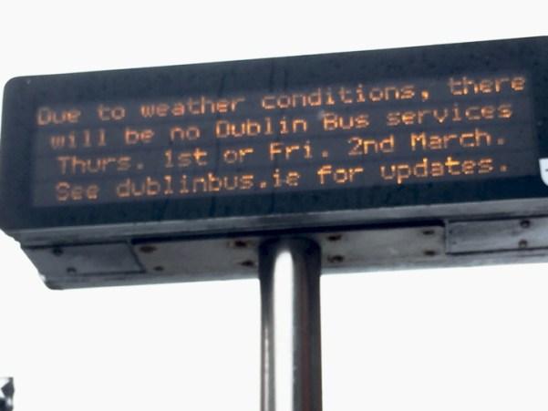 bus sign shut down