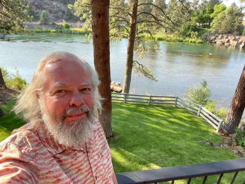Selfie in front of the Deschutes River