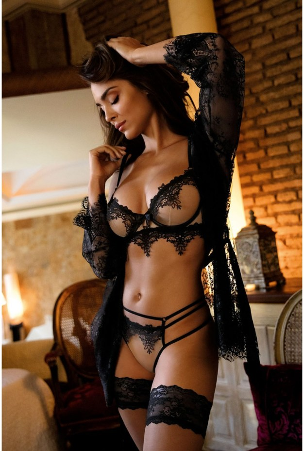 Lingerie sexy transparente | Parure Fabiola par Axami