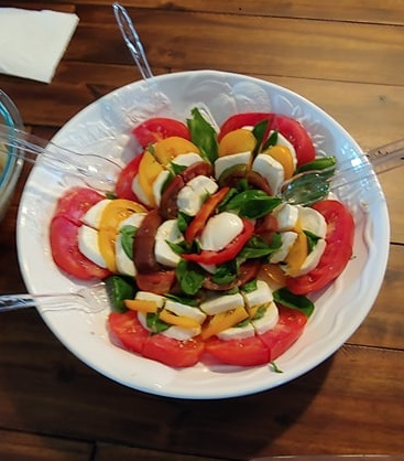 Caprese and Panzanella Salads with Fresh Tomatoes and Basil