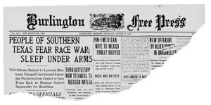 Headline from the Burlington Weekly Free Press, August 12, 1915