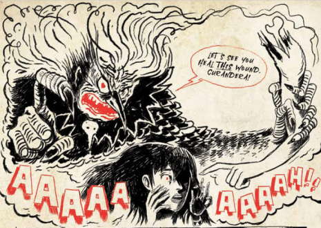 interior artwork from CLOCKWORK CURANDERA VOL 1: THE WITCH OWL PARLIAMENT showing the witch owl hovering over woman with black hair and taunting her to heal a wound
