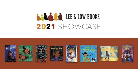 Lee & Low Books 2021 Showcase with book covers against a mahogany background