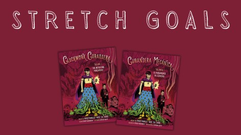 Image with text Stretch Goals and cover images of THE WITCH OWL PARLIAMENT in English and Spanish