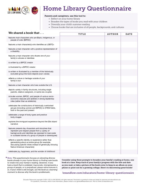 Home Library Questionnaire Form