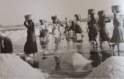 Women at work in the saltpans of Lefkada