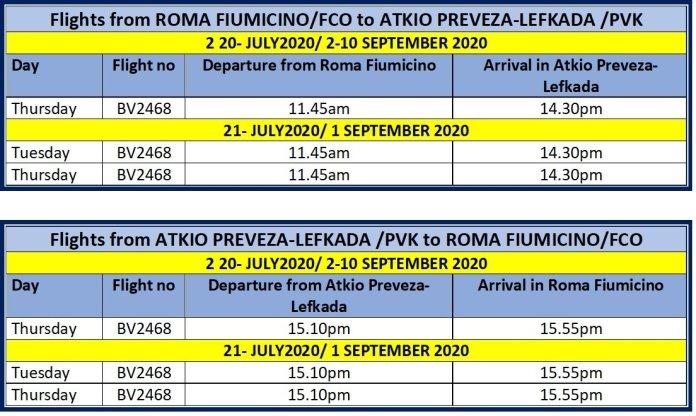Blu Panorama Roma to Atkio Preveza & return