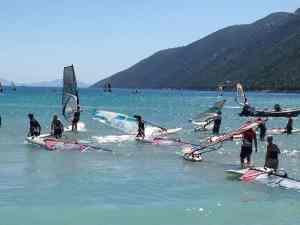 Learning how to windsurf in Vasiliki Lefkada