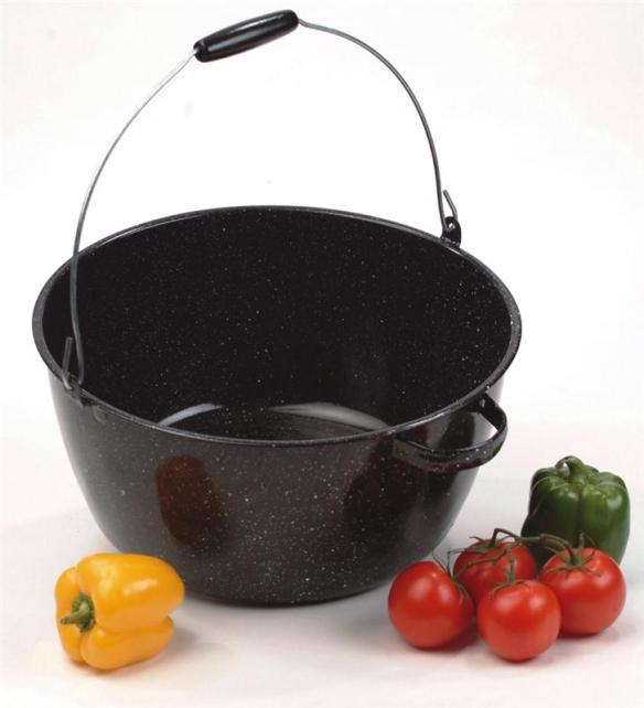 With a riveted bail and 'helper handle', our Enamelware Kettle is ideal for frontier portrayals. At Lehmans.com or Lehman's in Kidron, Ohio.