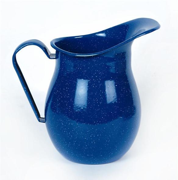 Blue Enamelware Water Pitcher