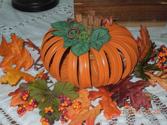 Renee used Bulk Canning Bands 1213830 (regular mouth) to make her pumpkin centerpiece. Want some bulk bands? They're in stock now at Lehmans.com and Lehman's in Kidron, Ohio.
