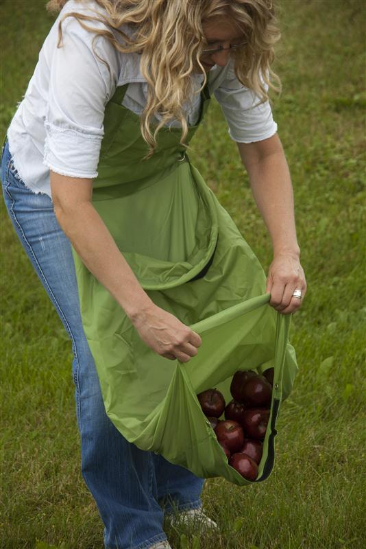 Our Harvest Apron makes it easy to pick fall fruit! In stock now at Lehmans.com or Lehman's in Kidron, Ohio.