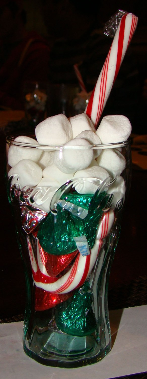 Each place had a candy-filled Coke glass as a party favor.