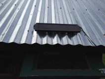 A solar collector on the tin roof powers the coop. Deep eaves provide shade.