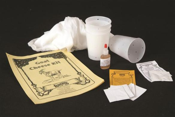 Kit for making cheese from goat milk.