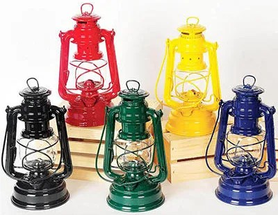 Feuerhand Lanterns from Germany in black, green, blue, yellow, red