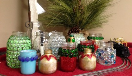 All the finished jars, ready for their close-ups on our office fireplace mantel.