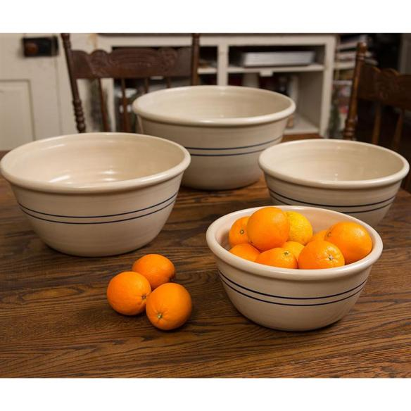 Our handmade Heritage Blue Stripe Mixing Bowls rival the ones in Mrs. Patmore's kitchen.