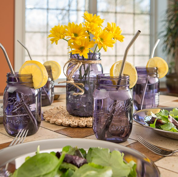 Create a gorgeous (and delicious) meal for Mom in your own home. Purple canning jars at Lehmans.com and our store in Kidron, Ohio.