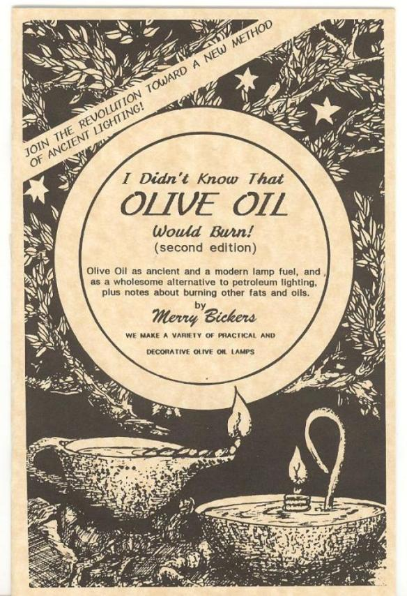 Learn lots more about burning olive oil for light in this helpful booklet. At Lehmans.com.