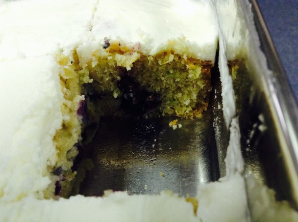 cake in ss pan closeup