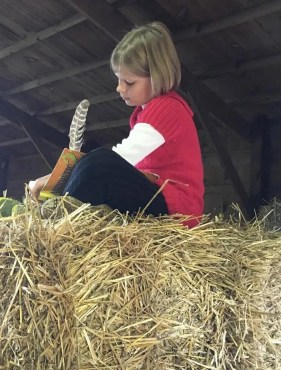school work on bales of hay