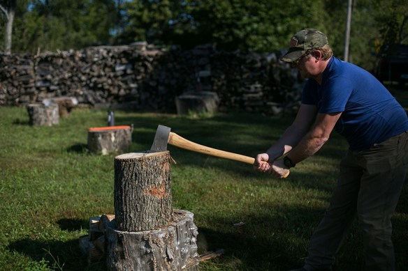 Patrick splitting wood