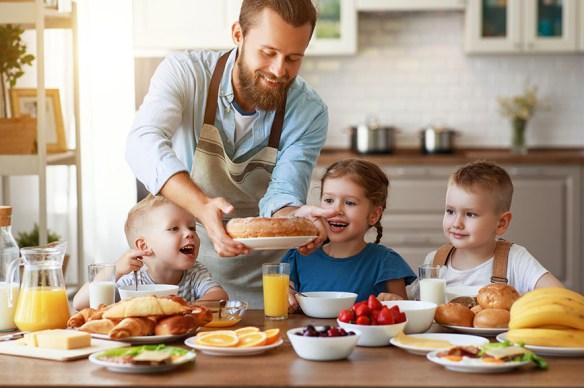 dad serving breakfast