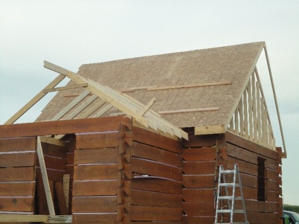 adding roof to log cabin