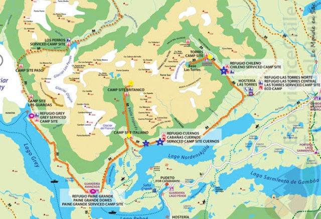 Carte du trek W - Torres del Paine