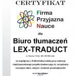 """Certyfikat """"Firma Przyjazna Nauce"""""""