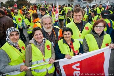 Amazon Mitarbeiter aus Werne und Rheinberg solidarisch. Verdi amazon Streik in Werne am 24.09.2014. Foto © Dietrich Hackenberg - www.lichtbild.org