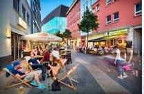 Abendstimmung mit Blick auf Konzerthaus — Gerberstrasse Dortmund. Foto Dietrich Hackenberg