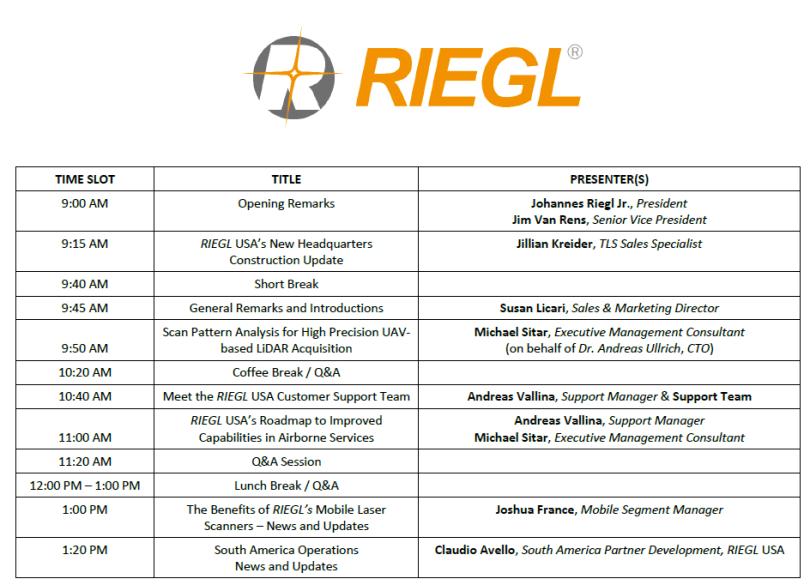 image of RIEGL Virtual Conference Agenda