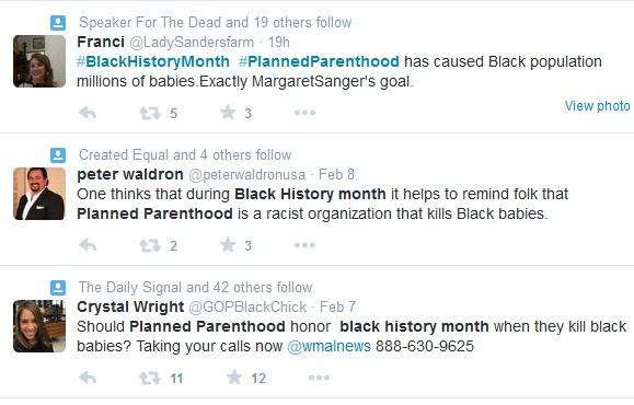 Planned Parenthood and Black History Month tweets