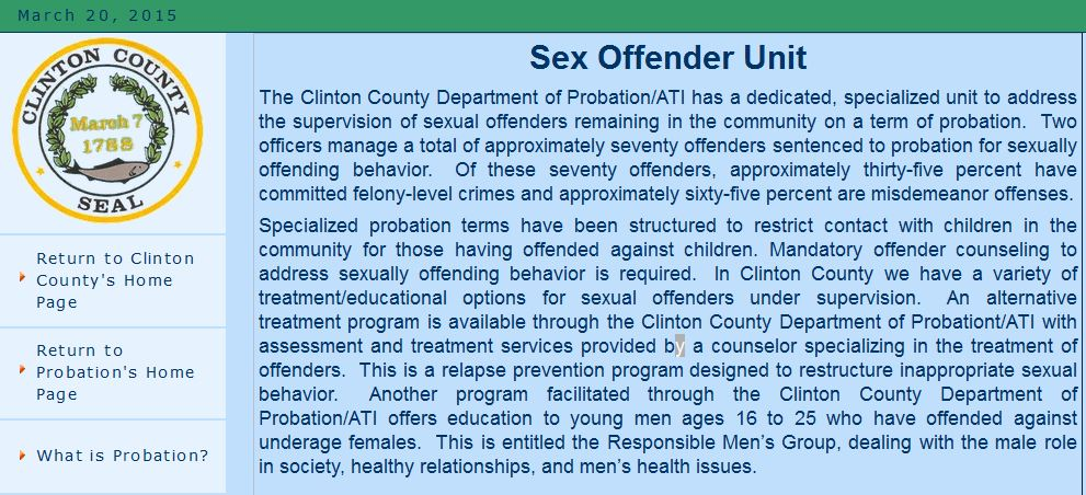 Clinton County sexual offender Planned Parenthood underage Responsible Mens