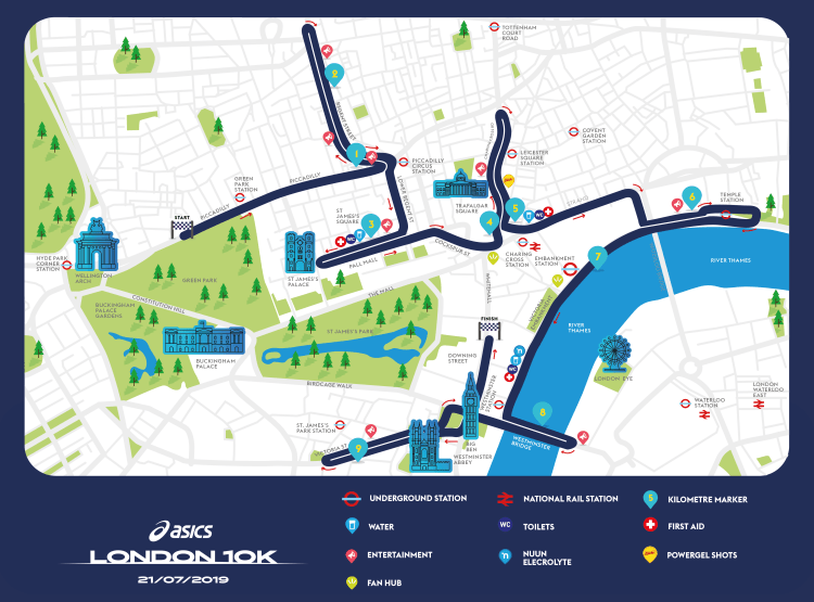 Your guide to the ASICS London 10K route – LimeLight Sports Club ...