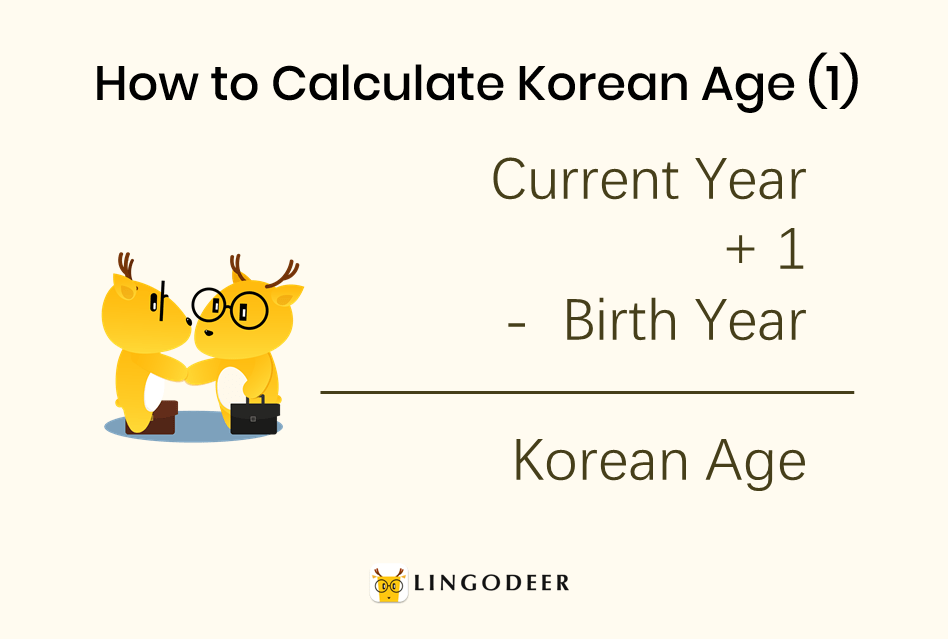 Korean age system: how to calculate Korean age (1): Korean age = current year + 1 - birth year